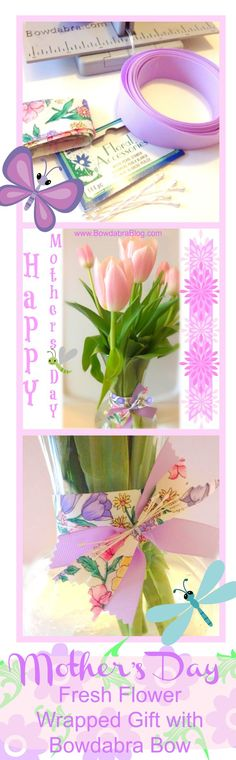 Mother's Day Fresh Flower Wrapped Gift with Bowdabra Bow