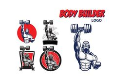 Body Builder Logo by Gagu on @creativemarket