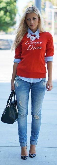 Carpe diem banana republic sweater chambray shirt jeans heels statement necklace fall outfit