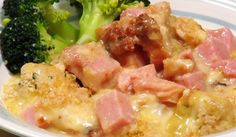 Chicken Cordon Bleu Casserole in the crock pot.