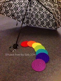 Handmade Crochet Rainbow Coaster Set 7 by StitchesfromtheSofa, £7.00