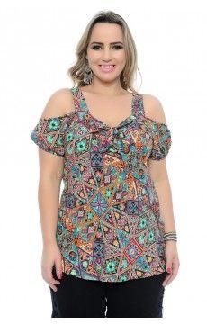 Blusa Viscose Estampa Viva Moda Plus Size, Ideias Fashion, Floral Tops, Fashion Dresses, Women, Manga, Templates, Women's Blouses, Fashion Trends