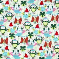 Michael Miller Christmas fabric Santa Claus owls