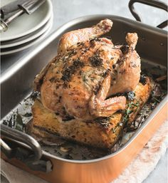 Try this recipe in the Airfryer, using a small chicken or spatchcock. Line basket with foil and proceed with the recipe. Bake at 180 deg for 30 to 35 minutes....bread soaks up all the yummy juices.