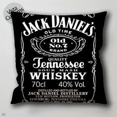 18 Jack Daniels on Black Wood pillow case, cover ( 1 or 2 Side Print With Size 16, 18, 20, 26, 30, 36 inch )
