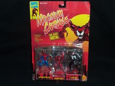 Marvel Comics Maximum Carnage Spider-Man and Venom Action Figures Die-Cast Metal #ToyBiz