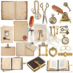 Old paper sheets with vintage accessories isolated on white background. antique clock, postcard, photo album, feather pen, keys and glasses
