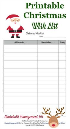 Free printable Christmas wish list, courtesy of Household Management 101