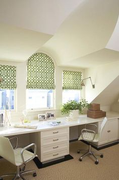 OK...this isn't a living room...but it's EXACTLY the look I'm going for in the living room...color and pattern-wise...green/white curtains, white furniture, tan floors with black details...LOVE!