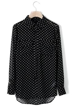 Heart Polka Dots Chiffon Shirt