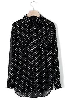 Heart Polka Dots Chiffon Shirt