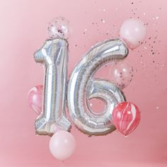Our Birthday balloon bundle consists of: 6 x 12 Latex balloons 1 x 40 Foil Number 1 balloon 1 x 40 Foil Number 6 balloon The balloons are supplied uninflated. Please see our range of disposable helium canisters. Giant Number Balloons, Clear Balloons With Confetti, 16 Balloons, Latex Balloons, Bubblegum Balloons, Happy 16th Birthday, Sweet 16 Birthday, Birthday Wishes, Surprise Birthday