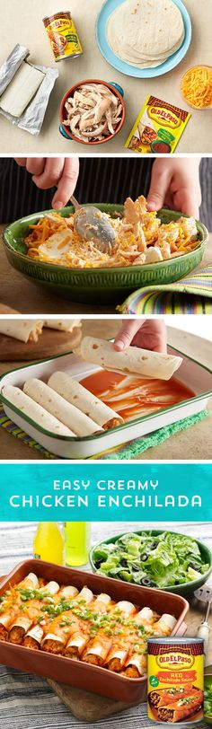 Making delicious enchiladas at home has never been easier! This simple recipe for Easy Creamy Chicken Enchiladas is sure to be your new go-to for family dinners. Just mix fajita seasoning, shredded chicken, cheddar and cream cheese together, roll the mixture into tortillas, and smother with Old El Paso™ Red Enchilada Sauce and bake! This delicious main dish is ready to eat in just 50 minutes, and pairs perfectly with salad or rice and beans!