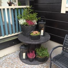 cable spool tables DIY Cable Spool Repurpose Ideas For Balcony Decoration - Balcony Decoration Ideas in Every Unique Detail Cable Spool Tables, Umbrella Wreath, Spool Crafts, Wood Spool, Outdoor Living, Outdoor Decor, Balcony Garden, Porch Decorating, Garden Projects