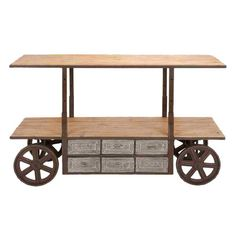Adjustable-height media stand with two wood shelves, six drawers, and trolley-style wheels.    Product: Media stand...