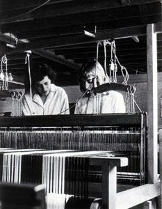 Anni Albers with a student, Black Mountain College, ca. 1937