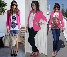 blazer rosa - Pesquisa Google Blazer Shirt, Ideias Fashion, Capri Pants, Shirts, Style, African Hair, Pink, Swag, Stylus