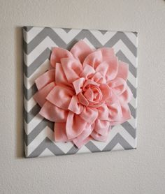 Baby Girl Room- TWO Wall Flower Decor -Light Pink Dahlia on Pink and Gray Chevron 12 Canvas Wall Art- Baby Nursery Wall Decor- Cute Crafts, Diy And Crafts, Arts And Crafts, Decor Crafts, Flower Wall Decor, Flower Decorations, Wall Flowers, Wall Decorations, Fabric Flowers