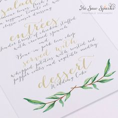Printable Wedding Menu Card Calligraphy von HeSawSparks auf Etsy