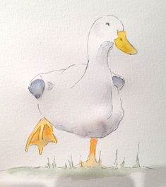 Here you see how you can paint the duck with watercolor paints yourself with a step by step guide in the creative club – duck well, all good! Watercolor Pictures, Watercolor Animals, Watercolor Paintings, Watercolours, Disney Art Drawings, Bird Drawings, Duck Drawing, Art Drawings Beautiful, Bird Quilt