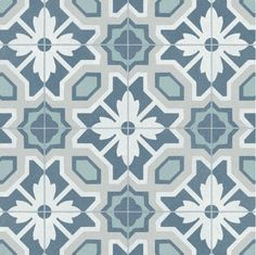 The Primrose sheet lino is a beautiful mix of Blue, Grey, Ivory and Turquoise tones in a unique floral tile design that replicates the authenticity of decorative stone and concrete tiles. Hard Wearing- Wear Layer, Incredibly High For a Cushioned Lino. Bathroom Lino, Vinyl Flooring Bathroom, Linoleum Flooring, Kitchen Flooring, Floors, Floor Design, Tile Design, Cushioned Vinyl Flooring, Sol Pvc