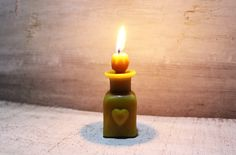 Beeswax Candle bottle flacon heart  gothic sculpture