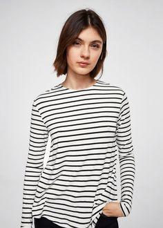 Koszulka z metalicznym detalem -  Kobieta | MANGO Polska