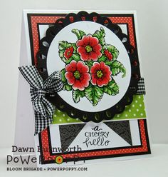 My Stamping Thyme: Power Poppy Friday. Potted Primroses stamp set by Power Poppy, card design by Dawn Burnworth.