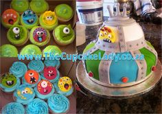 The aliens have landed! Flying saucer cake and alien cupcakes, sugarpaste decorations made freehand! Alien Cupcakes, Alien Cake, 3d Cakes, Cupcake Cakes, 4th Birthday Cakes, Birthday Ideas, Planet Cake, Alien Party, Space Party