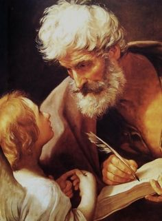 St Matthew and the Angel, - Guido Reni - Baroque. - Guido Reni was an Italian painter of high-Baroque style. Rembrandt, Baroque Painting, Baroque Art, Italian Baroque, Catholic Saints, Patron Saints, Catholic News, Roman Catholic, Tableaux Vivants