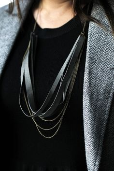 Leather and chain DIY necklace