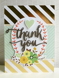 Summer into Autumn trends for 2014 - Thank you card using Teresa Collins Nine & Co. speciality gold foiled paper and die-cut elements.