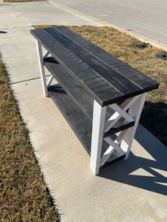 X Console Table - Handmade Haven Woodworking Outdoor Furniture, Diy Furniture Plans, Cool Woodworking Projects, Diy Furniture Projects, Diy Wood Projects, Diy Woodworking, Rustic Furniture, Furniture Storage, Popular Woodworking
