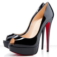 Christian Louboutin Lady 140mm Peep Toe Pumps Black CLK #ChristianLouboutinFan | See more about peep toe pumps, patent leather pumps and christian louboutin shoes.