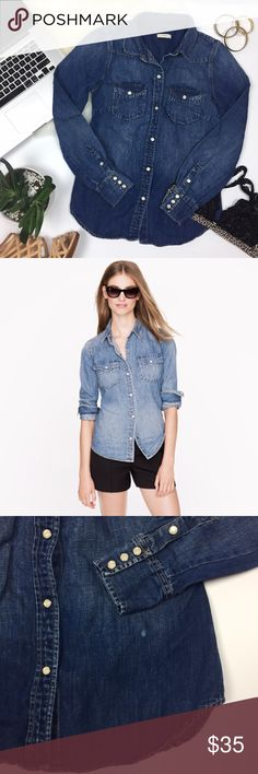 "- J.CREW - Western Denim Chambray Shirt The latest iteration of J.Crews have-to-have denim shirt: the Western. Decked with rugged details, it has a slim, tailored fit that always looks perfectly put together. Excellent pre-loved condition, one bleach spot show in pictures. True to size. Approx. Measurements  Bust: 16.5"" Length: 25"" 🛍Bundle & Save 20% on 2+ items! 🙅🏼No trades / selling off of Posh.  ✨Offers always welcome!✨ J. Crew Tops Button Down Shirts"