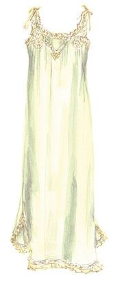 """""""Just After Midnight"""" by the J. Peterman Company.  The Ribbon Nightgown (No. 2989) comes in a sultry, lightweight cotton voile. Lace insets and medallions around the upper front. Contrasting lace trim around the neckline and hem. Three-eighths-inch wide ribbons on shoulder."""