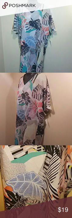 Bar III spring multi color dress Brand new cute  washed white combo multi color dress Bar III Dresses