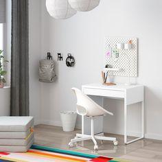 """MICKE Desk, white, 28 3/4x19 5/8"""" - IKEA Home Office Inspiration, Desks For Small Spaces, Ikea Small Desk, Small White Desk, Ikea Kids Desk, Kids Workspace, Desk For Small Room, Study Desk Ikea, Small Desk Space"""