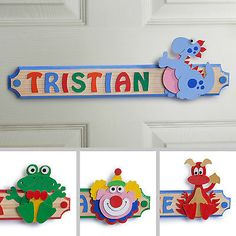 Personalised Wooden Letters Name Plaque Door Sign - DINOSAUR Wooden Name Plates, Wooden Letters, Door Plaques, Name Plaques, Childrens Bedroom Accessories, Door Signs, Kid Names, Toy Chest, Personalized Gifts