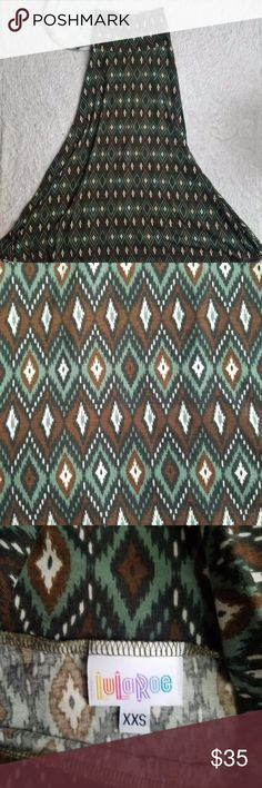 Lularoe Green And Brown Aztec Maxi Skirt Size XXS Lularoe Women's Green And Brown Aztec Maxi Skirt Size XXS (K9) LuLaRoe Skirts Maxi