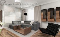 Projekt salonu Inventive Interiors - szary narożnik, czarny foteli elementy drewna