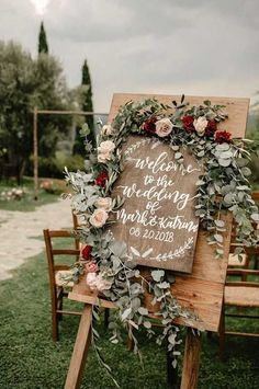 Red, Sage, White and Silver Sage Wedding Color Palette - rustic wedding sign with burgundy flowers and silver sage greenery