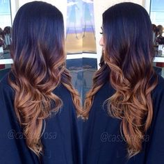 <3 dark brown/caramel ombre. Maybe do a reverse of this since the bottom is closer to my natural color