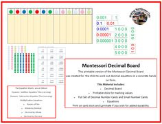 Making Montessori Ours Education Printables:  Montessori Decimal Board, Disks for all Hierarchies, Decimal Number Cards, Small Number Cards, Equations: Addition, Subtraction, Multiplication and Division.