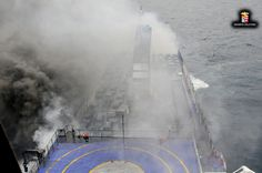 Greece, 1 dead on burning ferry. A cargo ship with 49 people evacuated from a Greek ferry that caught fire in the Adriatic Sea arrived Stormy Sea, Photo Grouping, Adriatic Sea, Greece, Police, Places To Visit, Marvel, Fire, Italy