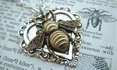 Bee Necklace Heart Necklace Gothic Victorian Mixed Metals Lightweight Pendant Feminine Vintage Inspired Steampunk Style Jewelry via Etsy