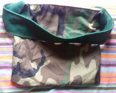 Camo Tote with dark green single handle, upcycled, washable by  one of a kind larissamyrie.art washable, strong, upcycled, fun, #fashion #style #art #barbie #shoppingbag #totebag #shoulderbag #slowfashion