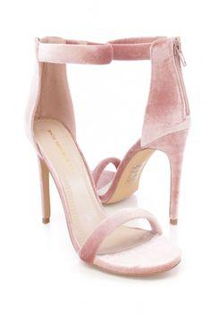 d9e45dcb163 Mauve Open Toe One Strap Single Sole High Heels Velvet