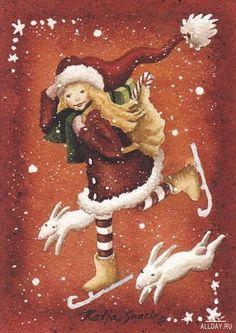 Katja Saario Christmas Art, All Things Christmas, Animation, Christmas Illustration, Ice Skating, Grinch, Gnomes, Skate, Disney Characters