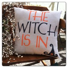 The Witch Is In  Halloween Pillow  HandMade Pillow by triobyn, $21.00